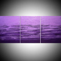 "ARTFINDER: extra large triptych color 3 panel wall art color purple violet impasto ""Purple Triptych"" v2 edition 3 panel wall abstract canvas abstraction 60 x 28"" by Stuart Wright - ""Purple Triptych""  impasto abstract painting in..."