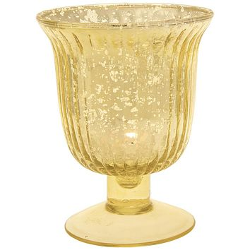 Vintage Mercury Glass Candle Holder (5-Inch, Emma Design, Fluted Urn, Gold) - Decorative Candle Holder - For Home Decor, Party Decorations, and Wedding Centerpieces