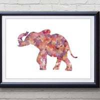 Pink Elephant Print - Home Living - Wildlife Painting - Wildlife Elephant Art - Wall Decor - Home Decor, House Warming Gifts