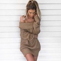 Sexy Off Shoulder Sweater Dress Women Slash Neck Long Sleeve Gray Pullovers Autumn Winter Casual Jumpers