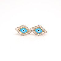 Evil Eye Cubic Zirconia Stud Earrings