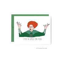 Hocus Pocus Halloween greeting card - green i put a spell on you Winifred fall autumn movie pun character witch witches
