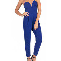 Strapless V Neck Jumpsuit - Blue - Large