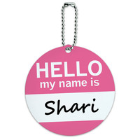 Shari Hello My Name Is Round ID Card Luggage Tag