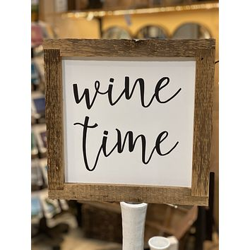 Wine Time - Handmade Reclaimed Antique Wood Framed Print - 12-in