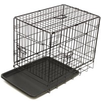 """OxGord 42"""" Heavy Duty Foldable Double Door Dog Crate with Divider and Removable ABS Plastic Tray, 42"""" x 27"""" x 30"""" - Walmart.com"""