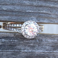 Halo Engagement Promise Ring Set in Sterling Silver with Cubic Zirconia (1.92 CTS)