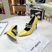 New style Off-white Women's High Heel Sandals Shoes Yellow