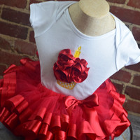 Baby's Birthday Onsie and Tutu by Mandy Lou {Red/White}