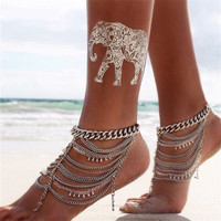 New Stunning Silver  Anklet  With Multi-Layered Tassels & Sequined Chains