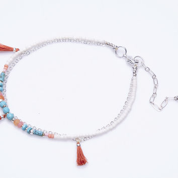 Layered Anklet with Tassels by Nakamol