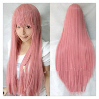 "Women Fashion 100CM/39"" Long straight Cosplay Fashion Wig heat resistant resistant Hair Full Wigs   Sakura powder"
