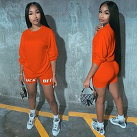Letter Print Casual Women's Two Piece Outfits Set