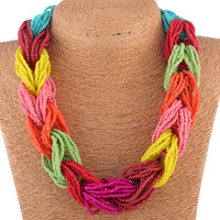 Multicolor Beaded Statement Link Necklace