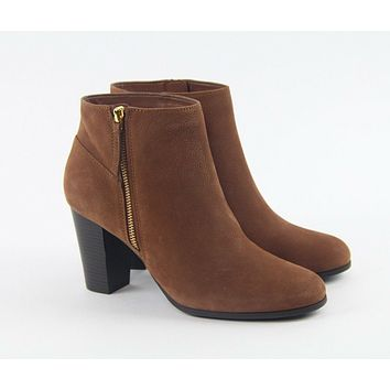 Cole Haan Davenport Brown Sequoia Nubuck Leather Stacked Ankle Bootie Boots