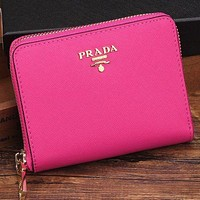 Prada women's leather zipper wallet F Rose red