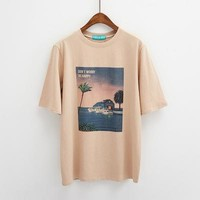 Tops and Tees T-Shirt 3 colors 2018 summer preppy style vintage print short sleeve t-shirts womens loose cropped  tee shirt femme (B1789) AT_60_4 AT_60_4