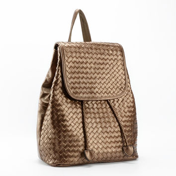 New 2016 ms backpack The first layer cowhide backpack Woven shoulder bags
