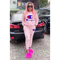 Free shipping-Champion women's letter embroidery two-piece Pink