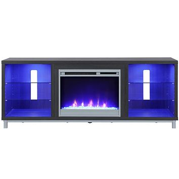 """Ameriwood Home Lumina Fireplace Stand for TVs, up to 70"""", Black Oak Fireplace TV Stand - TV's up to 70"""""""