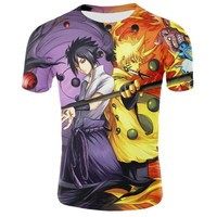 Naruto Sasauke ninja Summer brand clothing men / women's T-shirt anime characters  Sasuke 3D printing cartoon T-shirt tee shirt  anime AT_81_8