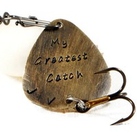 My Greatest Catch Custom Personalized Brass Fishing Lure.