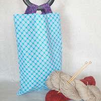 Knitting project Tote bag 100% cotton, 10x15 inches, lined with small pocket, reversible, plastic handles   reusable market bag
