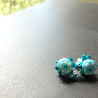 Blue Turtle Earrings from British Potential
