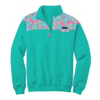 Simply Southern Pullover Teal Pattern Long Sleeve Sweatshirt Jacket Sweater