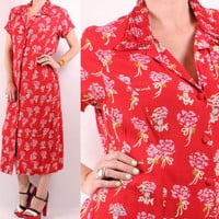 Vintage 90s 40s Style - Vibrant Red - Berard France French Ladies in Hats & Floral Bouquet Novelty Print - Button Down Maxi Dress - Romantic