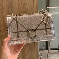 Dior luxury rhinestone shield chain bag lady temperament diagonal bag