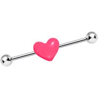 Pink Passionate Heart Industrial Barbell | Body Candy Body Jewelry