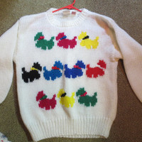 Vintage Womans Retro Fetagetti Sweater Scottie Dog Scotty Dog Rainbow sweater Knit Sweater Size Medium