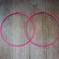 Pink Big Hoop Earring, Large Hoop, 3,5 inches, Simple boho chic bohemian gypsy tribal belly dance bold earring