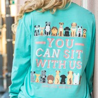 Jadelynn Brooke: You Can Sit with Us Dog L/S {Chalky Mint}