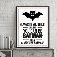 Batman Quotes Canvas Art Painting on Canvas, Poster Oil Painting by Numbers Wall Pictures for Living Room, No Frame