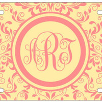 Personalized Monogrammed Damask Beige Flowers License Plate Custom Car Auto L166