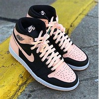 AJ1 Nike Air JORDAN 1 Colorblock Couple Pink Sneakers Shoes