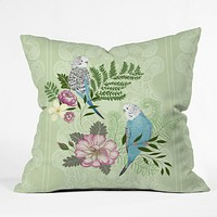 Pimlada Phuapradit Parakeets Throw Pillow