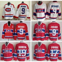 Throwback Montreal Canadiens 9 Maurice Richard Jersey Men Vintage Classic 19 Larry Robinson 17 Georges Laraque Ice Hockey Jerseys Quality