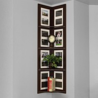 4-Tier Hanging Corner Picture Shelf (Brown)