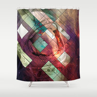 Space stained glass Shower Curtain by Tony Vazquez