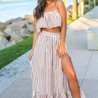 Rose Striped Layered Top and Skirt Set