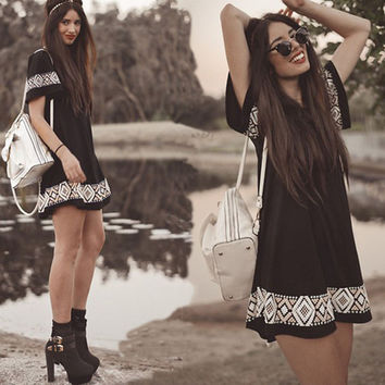 Patchwork Summer Women's Fashion Black Short Sleeve Totem One Piece Dress [6439093188]