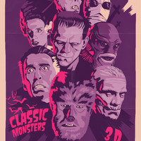 CLASSIC MONSTERS Art Print by Mike Wrobel