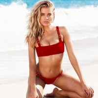 Summer Stylish Women Pure Color Metal Buckle Vest Style Two Piece Bikini Swimwear Bathing(4-Color)