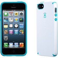 Speck Products SPK-A0478 CandyShell Case for iPhone 5 & 5S - Retail Packaging - White/Peacock Blue
