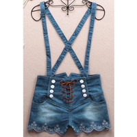 Retro Double-Breasted High Waist Denim Overalls Romper Jumpsuit