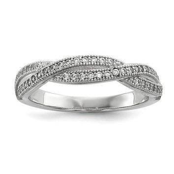 Sterling Silver & CZ Brilliant Embers Twisted Band Ring