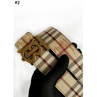 Burberry 2019 new classic plaid belt TB letter buckle belt #2